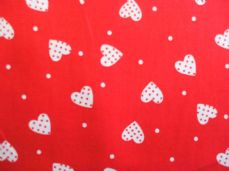 Red with White Hearts Dot 100% Cotton Fabric